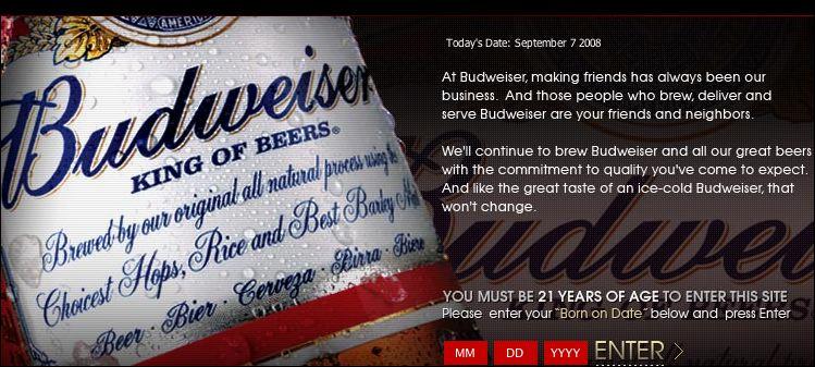 Budweiser age gateway