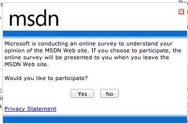 Microsoft web survey
