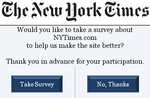 New York Times web survey