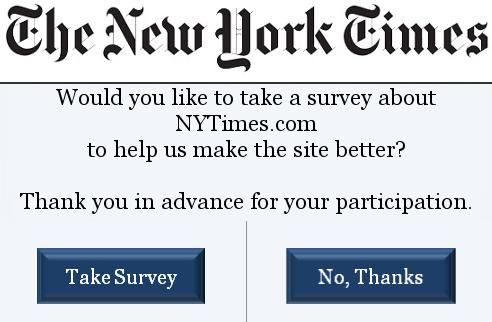 New York Times web survey