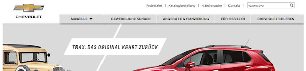 Chevrolet Germany home page